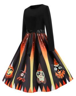 1950s Jewel Neck Long Sleeves Printed Vintage Dress
