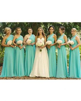 A Line Chiffon One Shoulder Floor Length Prom Bridesmaid Dresses