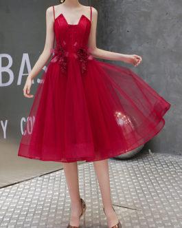 A Line Knee Length Square Neck Flowers Social Mini Dresses
