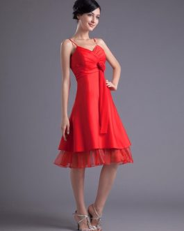 A-line Satin Floral Straps Knee-Length Fashion Bridesmaid Dress