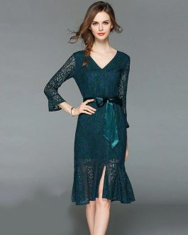 Elegant V-Neck Flare Sleeve Trumpet Mermaid dress
