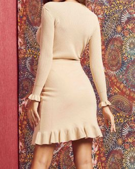 Beautiful V Neck Long Sleeves Knitted Dress