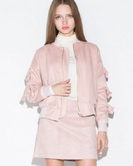 Bow Chic Long Sleeve Stand Collar Polyester Jacket