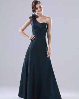 Bridesmaid Dress Taffeta One Shoulder Ribbon A Line Maxi Party Dress