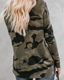 Camo Sweatshirt Long Sleeve Round Neck Pullover Top
