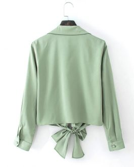 Casual Bowknot Elegant Short Blouse