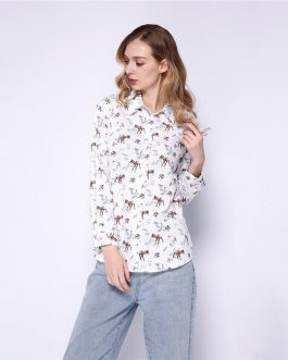 Casual Deer Pattern Cute Asymmetric Shirt