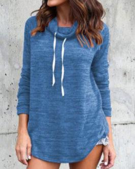 Casual High Collar Long Sleeve Sweatshirt