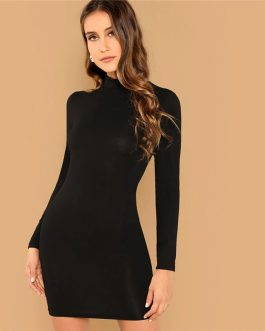Casual Office Lady Solid Bodycon Dress