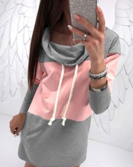 Casual Shawl Collar Drawstring Two Tone Longline Pullover Sweatshirt