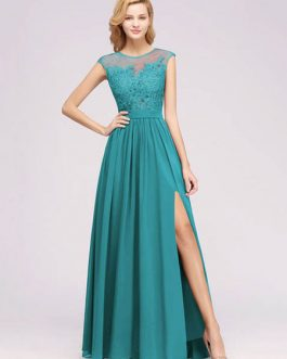 Chiffon A Line Illusion Neck Sleeveless Floor Length Wedding Party Prom Bridesmaid Dress
