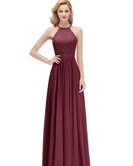Chiffon Halter Neck A Line Sleeveless Floor Length Wedding Party Bridesmaid Dresses