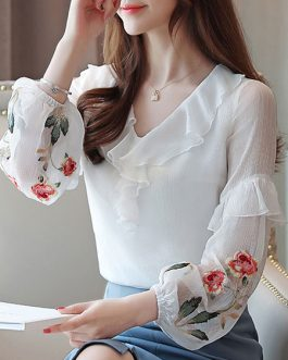 Chiffon V Neck Layered Casual Printed Embroidered Ruffles Long Sleeves Tops