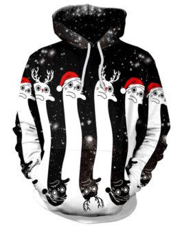 Christmas Pattern Print Pullover Hooded Sweatshirt