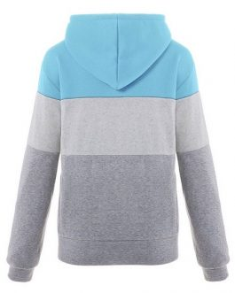 Cotton Hoodies Long Sleeve Color Block Drawstring Hooded Zip Up Jacket