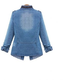 Denim Jacket Military Jacket Zippered Spring Coat