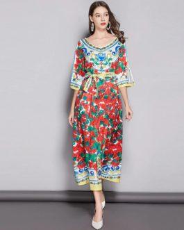 Designer Runway Rose Flowers Print Bow Belt Long Party Dress