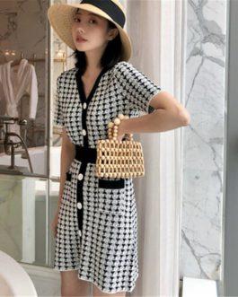 designer runway knitted skirt suit 2 piece set