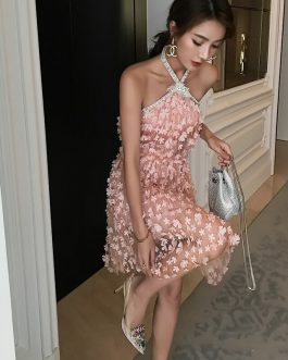 Beading Diamonds High Quality 3D Flower Mesh Party Dress