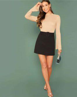 Elegant Buckle Belted A Line Mini Skirt