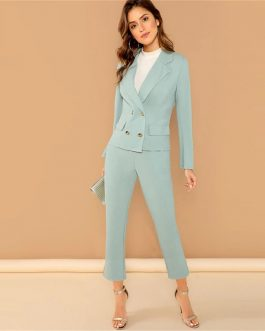 Turquoise Pocket Front Double Breasted Notch Long Sleeve Coat Pants Set