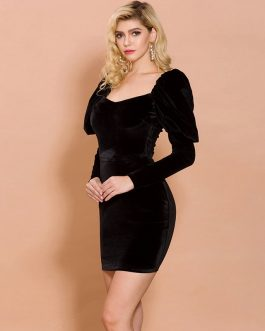 Elegant Irregular Neck Velvet Mini Dress