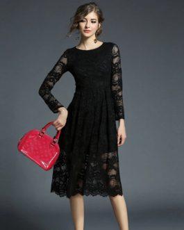 Elegant Lace Full Sleeve O-Neck Long Party Dress
