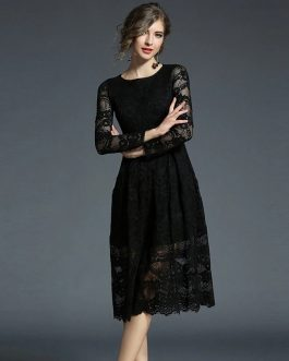 Elegant Lace Full Sleeve O-Neck Long Party Dress