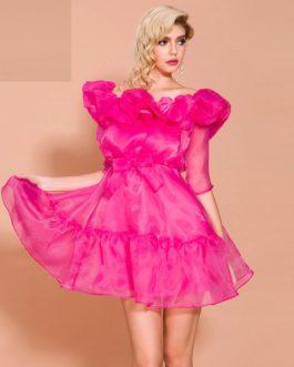 Elegant Solid Color Ruffles Mini Dress