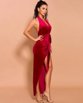 Elegant Deep V Off Shoulder High Split Velvet Backless Maxi Dresses