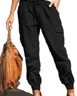 Fashion Solid Color Pocket Cargo Pants