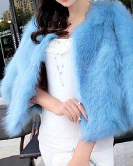 Faux Fur Coat Open Front Faux Fox Fur Jacket