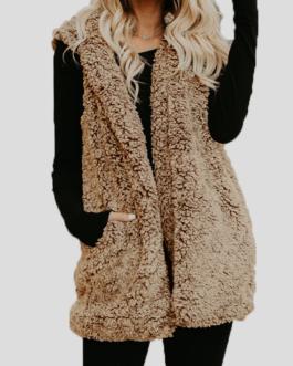 Fleece Hooded Sleeveless Plus Size Winter Jacket