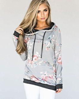 Floral Hoodies Long Sleeve Drawstring Hooded Sweatshhirt