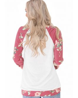 Floral Long Sleeve Round Neck Pockets Casual Sweatshirt