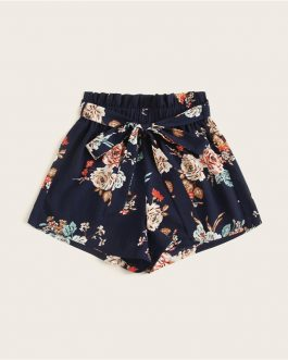 Floral Print Belted Wide Leg Loose Summer Shorts