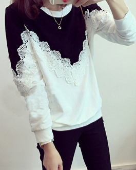 Flower Lace Patchwork O-neck Cotton Sweatshirt