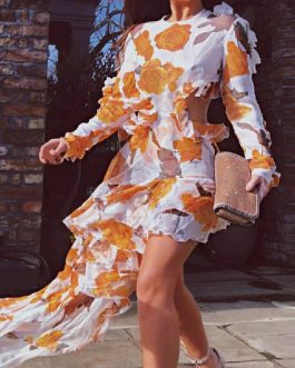 Flower Print Elegant Beach Maxi Dress