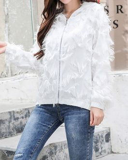 Full Zip Hoodie Fringe Long Sleeve Hooded Jacket