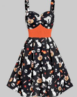 Vintage1950s Halloween Straps Neck Buttons Swing Dress