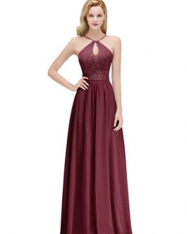 Halter Neck A Line Sleeveless Floor Length Zipper Lace Wedding Party Bridesmaid Dresses