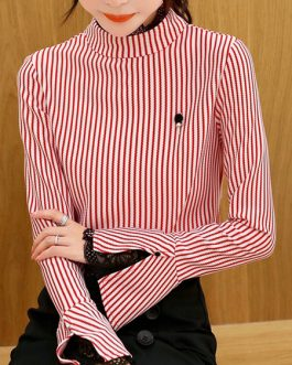 High Collar Asymmetrical Academic Stripes Split Lace Long Sleeves Tops