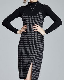 High Collar Plaid Split Front Retro Long Sleeves Two Piece Sets