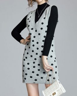 High Collar Polka Dot Crochet Casual Long Sleeves Two Piece Sets