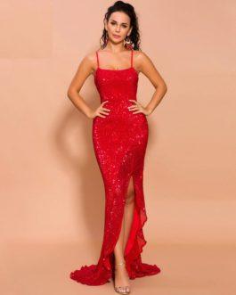High Split Elegant Solid Color Maxi Dress