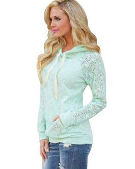 Hoodie Long Sleeve Lace Sweatshirt