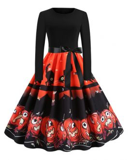Jewel Neck Long Sleeve Printed Mini Dress