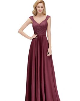 Lace A Line V Neck Short Sleeve Floor Length Wedding Party Bridesmaid Dresses