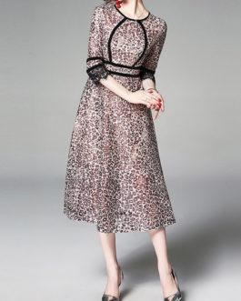 Leopard Jewel Neck Lace Leopard Print Layered Semi Mini Dress