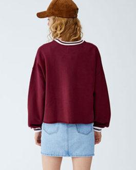Logo Letters Stripe Rib Knit Cuff Long Sleeve Pullover Sweatshirt